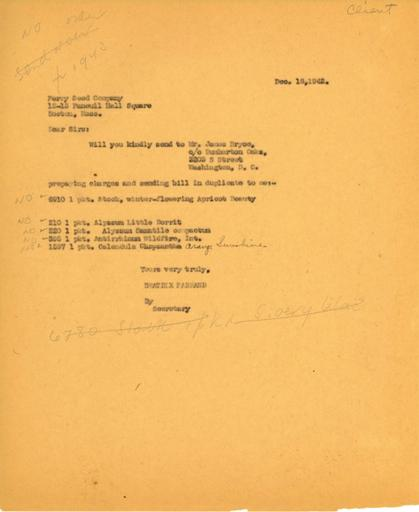 Order from Beatrix Farrand to Perry Seed Company, December 18, 1942