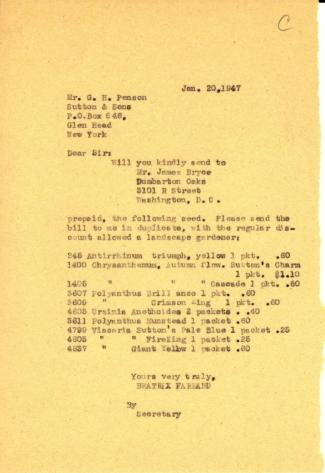 Order from Beatrix Farrand to G.H. Penson, Sutton & Sons, January 20, 1947