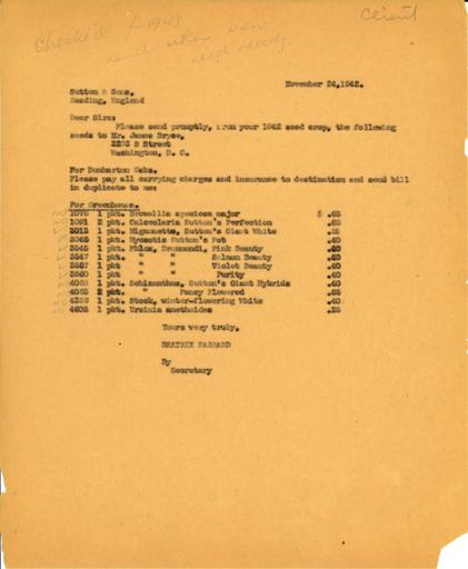 Order from Beatrix Farrand to Sutton & Sons, November 24, 1942