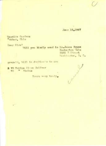 Order from Beatrix Farrand to Wayside Gardens, June 18, 1947