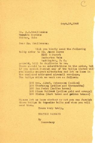 Order from Beatrix Farrand to J.J. Greullemans, Wayside Gardens, September 18, 1946