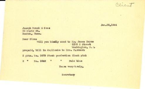 Order from Isabelle Stover to Joseph Breck & Sons, January 25, 1944