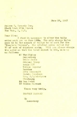 Order modification request to Andrew R. Kennedy, Inc. from Beatrix Farrand, June 27, 1947