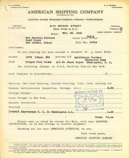 Receipt from American Shipping Company, Inc. to Beatrix Farrand, November 25, 1946