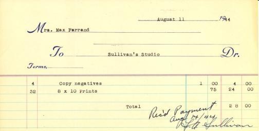 Receipt from Sullivan's Studio to Beatrix Farrand, August 11, 1944