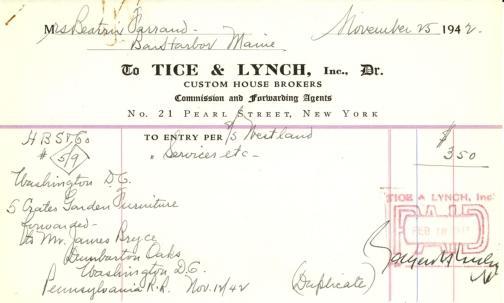 Receipt from Tice & Lynch, Inc. to Beatrix Farrand, November 25, 1942