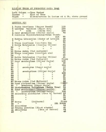 List of trees, Section C, 1940