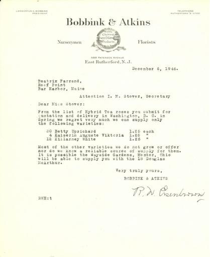 Price estimate from Bobbink & Atkins to Beatrix Farrand, December 6, 1946