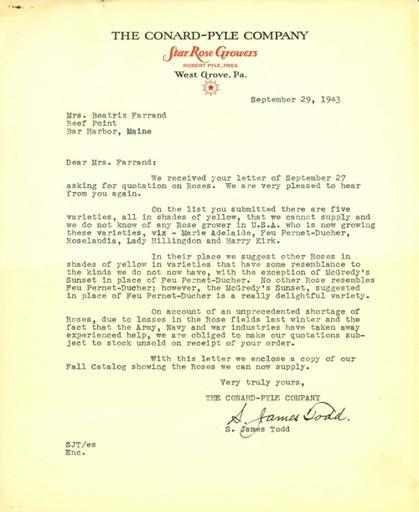 Price estimate from Conard-Pyle Co. to Beatrix Farrand, September 29, 1943