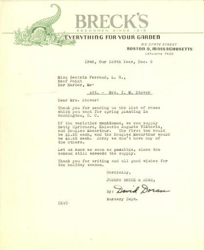 Price estimate from David Doran, Breck's to Isabelle Stover, December 6, 1946