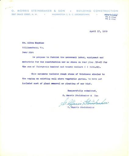 Price estimate from G. Morris Steinbraker & Son, Inc. to Alden Hopkins, April 17, 1959