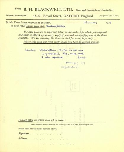 Price quote from B.H. Blackwell, Ltd. to Beatrix Farrand, January 13, 1948