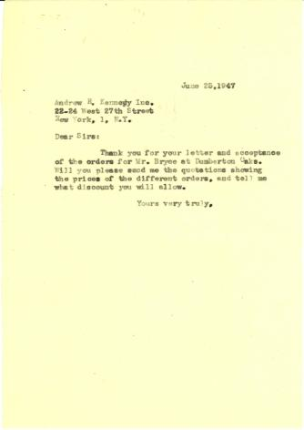 Price request from Beatrix Farrand to Andrew R. Kennedy, Inc., June 25, 1947