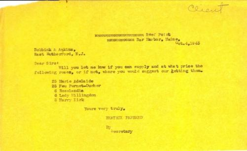 Price request from Beatrix Farrand to Bobbink & Atkins, October 4, 1943