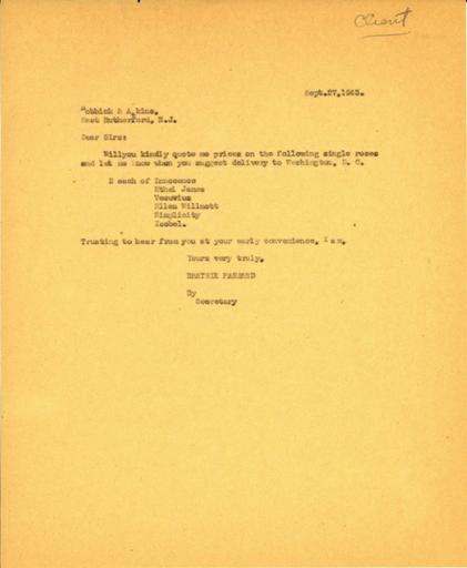 Price request from Beatrix Farrand to Bobbink & Atkins, September 27, 1943