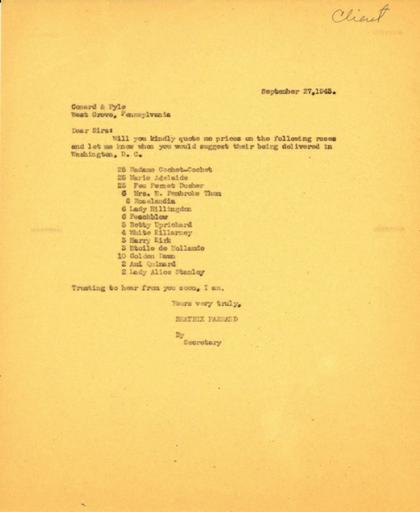 Price request from Beatrix Farrand to Conard-Pyle Co., September 27, 1943
