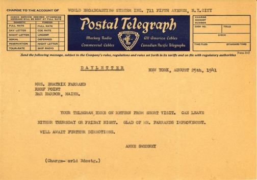 Anne Sweeney to Beatrix Farrand, August 25, 1941