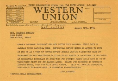 Anne Sweeney to Beatrix Farrand, August 27, 1941