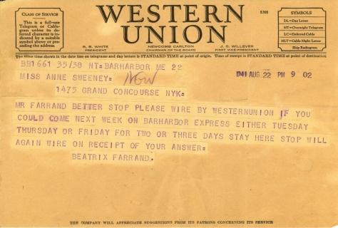 Beatrix Farrand to Anne Sweeney, August 22, 1941