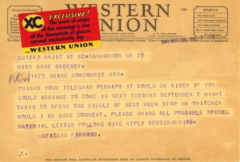 Beatrix Farrand to Anne Sweeney, August 25, 1941 (1)