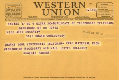 Beatrix Farrand to Anne Sweeney, August 28, 1941 (1)