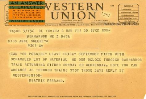 Beatrix Farrand to Anne Sweeney, September 9, 1941