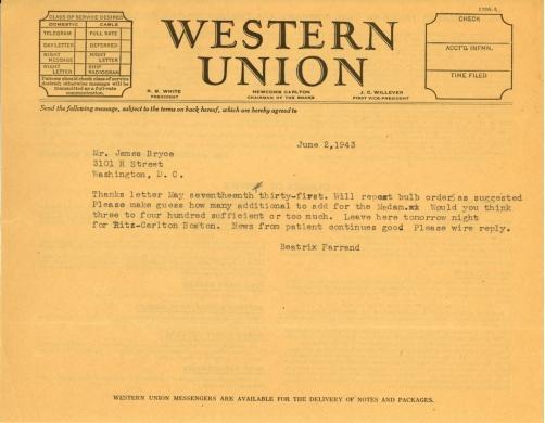 Beatrix Farrand to James Bryce, June 2, 1943