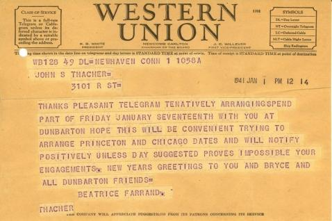Beatrix Farrand to John Thacher, January 1, 1941