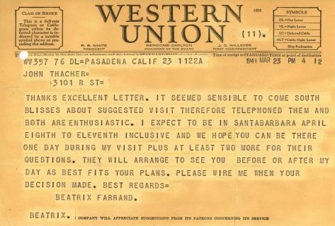 Beatrix Farrand to John Thacher, March 23, 1941