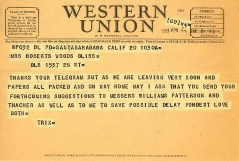 Beatrix Farrand to Mildred Bliss, April 20, 1950