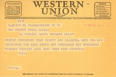 Beatrix Farrand to Mildred Bliss, August 15, 1947