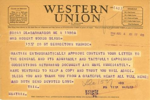 Beatrix Farrand to Mildred Bliss, August 4, 1944 (2)