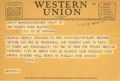 Beatrix Farrand to Mildred Bliss, December 31, 1943