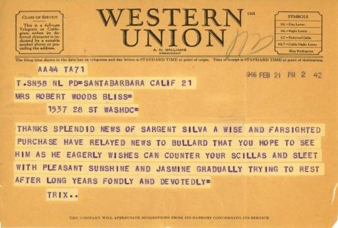 Beatrix Farrand to Mildred Bliss, February 21, 1946