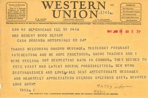 Beatrix Farrand to Mildred Bliss, January 18, 1941