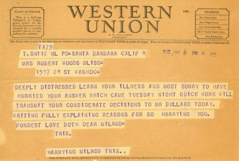 Beatrix Farrand to Mildred Bliss, January 8, 1947 (1)