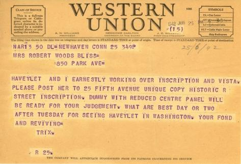 Beatrix Farrand to Mildred Bliss, June 25, 1942