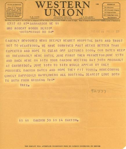 Beatrix Farrand to Mildred Bliss, May 11, 1942