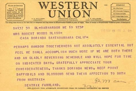 Beatrix Farrand to Mildred Bliss, May 19, 1942