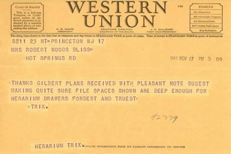 Beatrix Farrand to Mildred Bliss, November 17, 1941