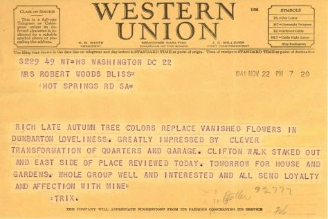 Beatrix Farrand to Mildred Bliss, November 22, 1941