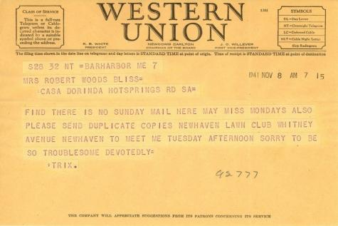 Beatrix Farrand to Mildred Bliss, November 8, 1941 (1)