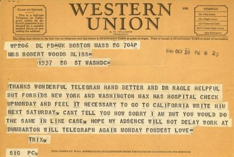 Beatrix Farrand to Mildred Bliss, October 28, 1944