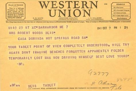 Beatrix Farrand to Mildred Bliss, October 7, 1941