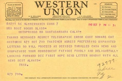 Beatrix Farrand to Mildred Bliss, October 7, 1942