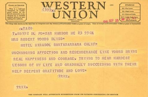 Beatrix Farrand to Mildred Bliss, September 23, 1946