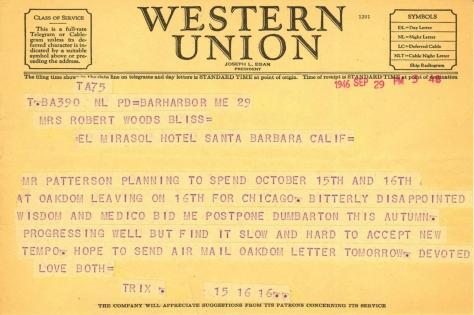 Beatrix Farrand to Mildred Bliss, September 29, 1946