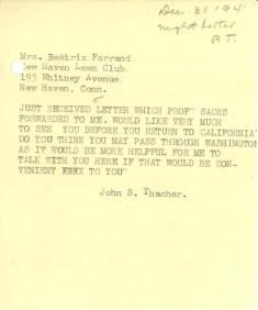 John Thacher to Beatrix Farrand, December 31, 1940