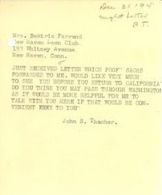 John Thacher to Beatrix Farrand, December 31, 1940