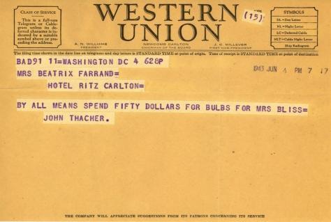John Thacher to Beatrix Farrand, June 4, 1943